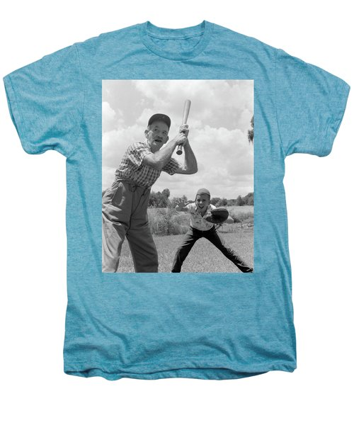 1950s Grandfather At Bat With Grandson Men's Premium T-Shirt
