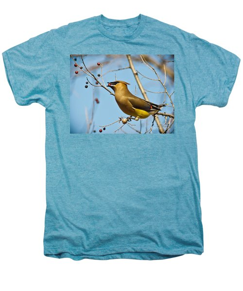 Cedar Waxwing With Berry Men's Premium T-Shirt by Robert Frederick