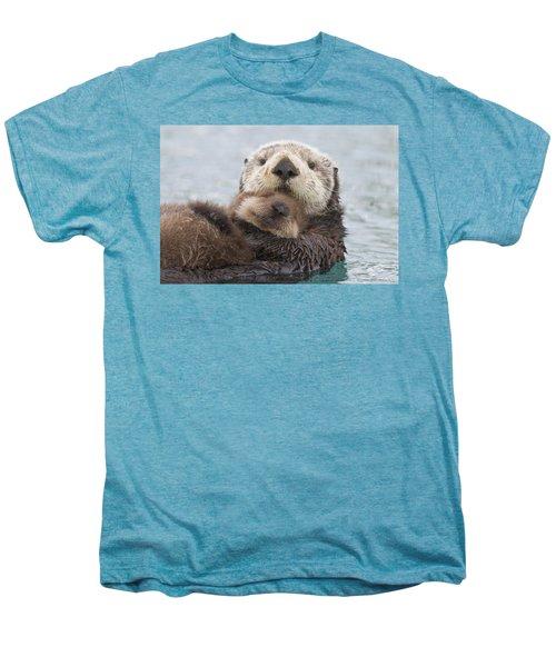 Female Sea Otter Holding Newborn Pup Men's Premium T-Shirt