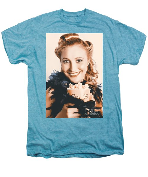 Fifties Pinup Woman Seeing Movie At Retro Cinema Men's Premium T-Shirt
