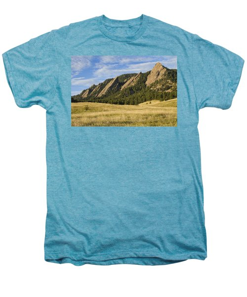 Flatirons With Golden Grass Boulder Colorado Men's Premium T-Shirt