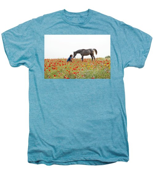 Men's Premium T-Shirt featuring the photograph Three At The Poppies' Field... 4 by Dubi Roman