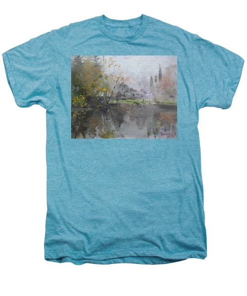 A Foggy Fall Day By The Pond  Men's Premium T-Shirt