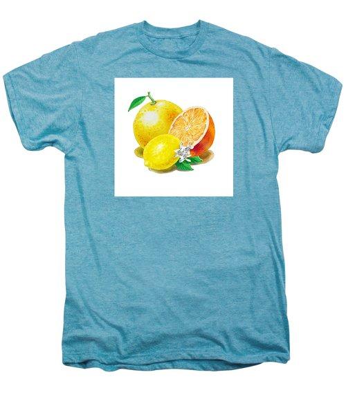 Men's Premium T-Shirt featuring the painting A Happy Citrus Bunch Grapefruit Lemon Orange by Irina Sztukowski