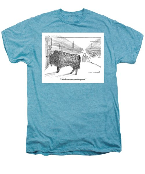 A Large Buffalo Stands Near The Door Men's Premium T-Shirt by Michael Crawford