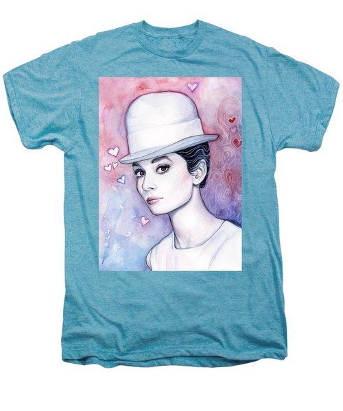 Audrey Hepburn Fashion Watercolor Men's Premium T-Shirt by Olga Shvartsur