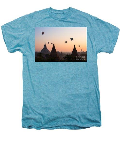 Ballons Over The Temples Of Bagan At Sunrise - Myanmar Men's Premium T-Shirt