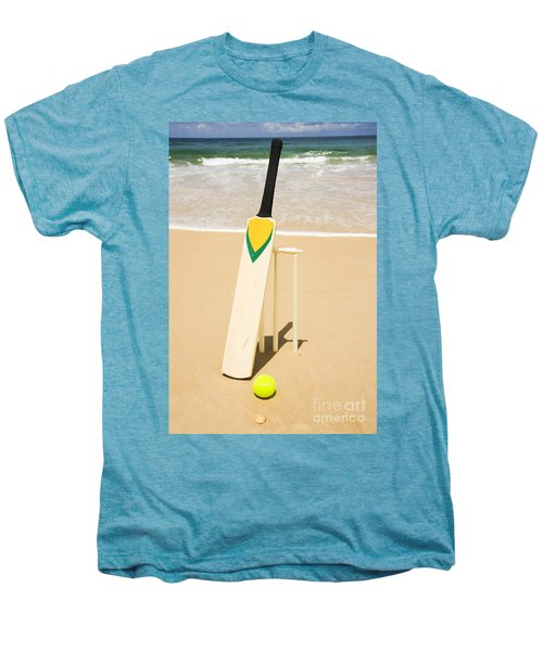 Bat Ball And Stumps Men's Premium T-Shirt by Jorgo Photography - Wall Art Gallery