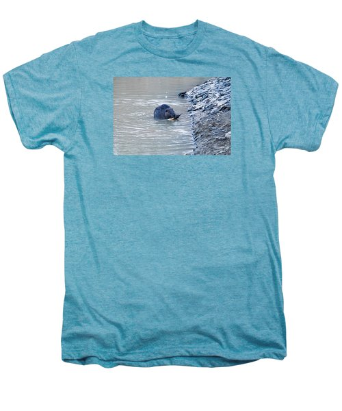 Beaver Chews On Stick Men's Premium T-Shirt by Chris Flees