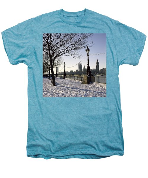 Big Ben Westminster Abbey And Houses Of Parliament In The Snow Men's Premium T-Shirt by Robert Hallmann