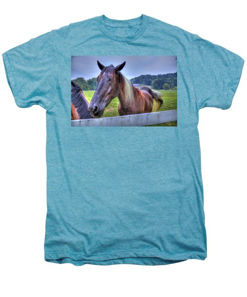 Men's Premium T-Shirt featuring the photograph Black Horse At A Fence by Jonny D