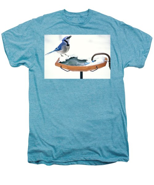 Blue Jay At Heated Birdbath Men's Premium T-Shirt by Steve and Dave Maslowski