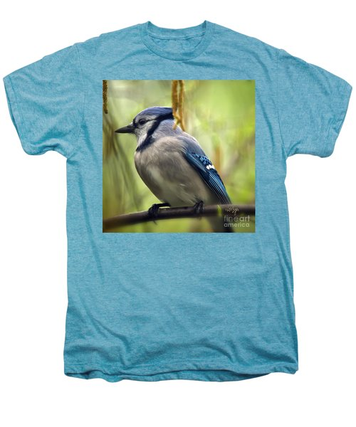 Blue Jay On A Misty Spring Day - Square Format Men's Premium T-Shirt by Lois Bryan