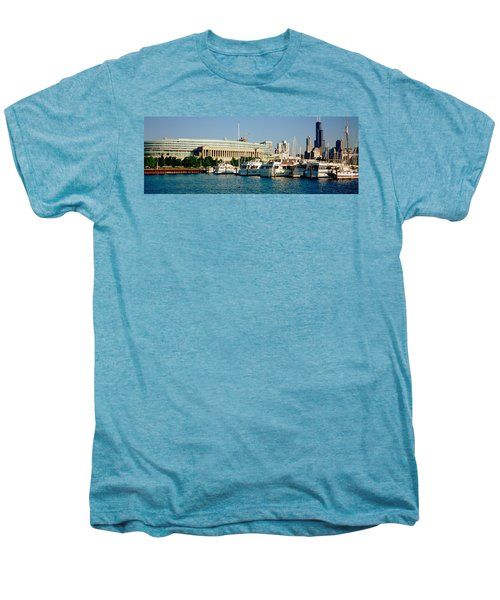 Boats Moored At A Dock, Chicago Men's Premium T-Shirt by Panoramic Images