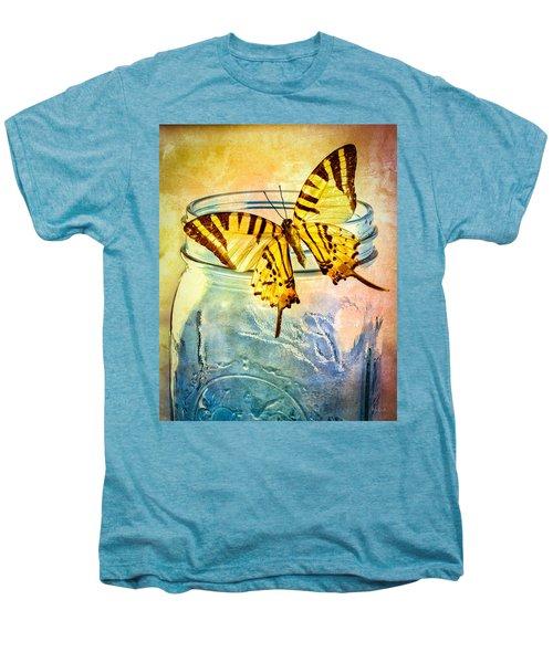 Butterfly Blue Glass Jar Men's Premium T-Shirt by Bob Orsillo