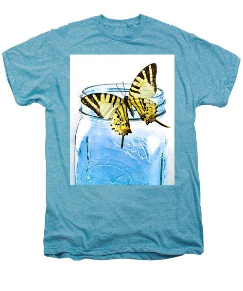Butterfly On A Blue Jar Men's Premium T-Shirt by Bob Orsillo