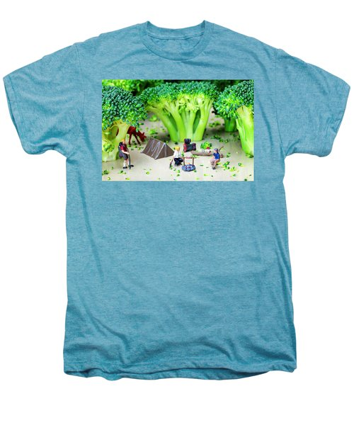 Camping Among Broccoli Jungles Miniature Art Men's Premium T-Shirt by Paul Ge