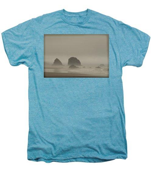 Cannon Beach In A Fog Oregon Men's Premium T-Shirt by Yulia Kazansky