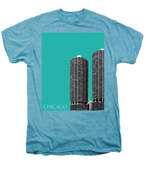 Chicago Skyline Marina Towers - Teal Men's Premium T-Shirt