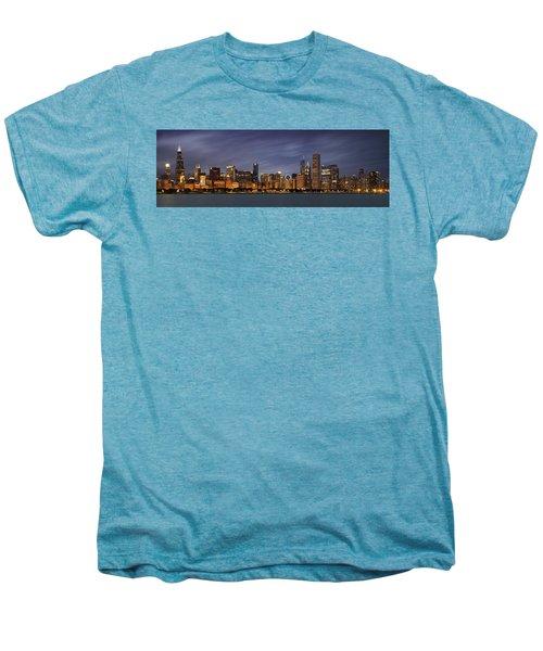 Chicago Skyline At Night Color Panoramic Men's Premium T-Shirt