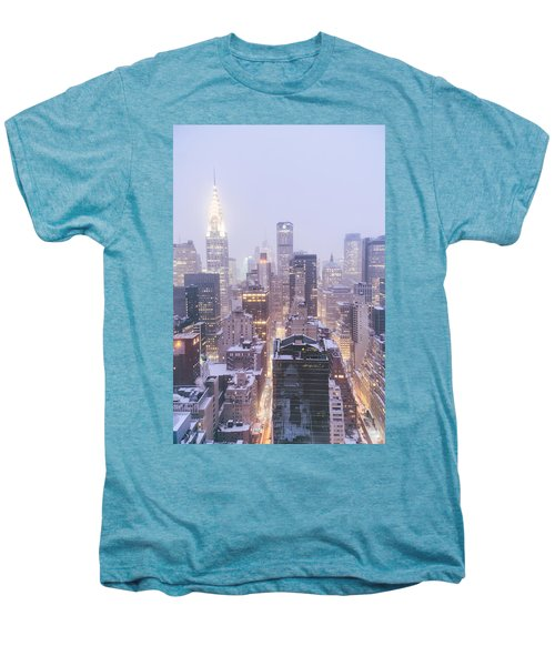 Chrysler Building And Skyscrapers Covered In Snow - New York City Men's Premium T-Shirt by Vivienne Gucwa