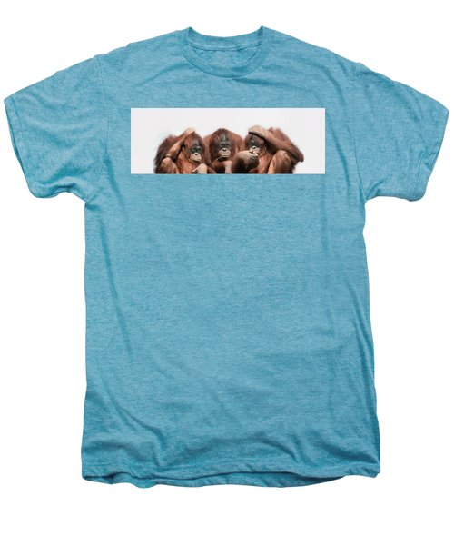 Close-up Of Three Orangutans Men's Premium T-Shirt by Panoramic Images