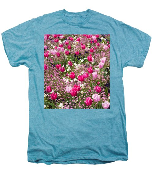 Colorful Pink Tulips And Other Flowers In Spring Men's Premium T-Shirt