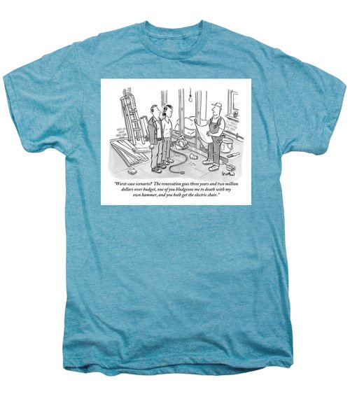 Contractor Examining A Blueprint And Speaking Men's Premium T-Shirt