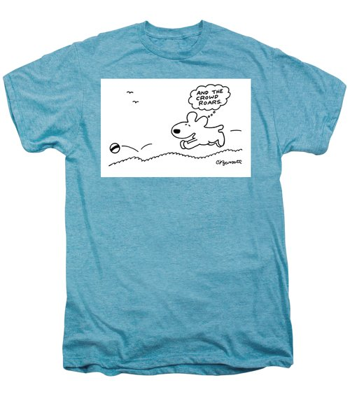 Dog Chases After A Ball Men's Premium T-Shirt by Charles Barsotti