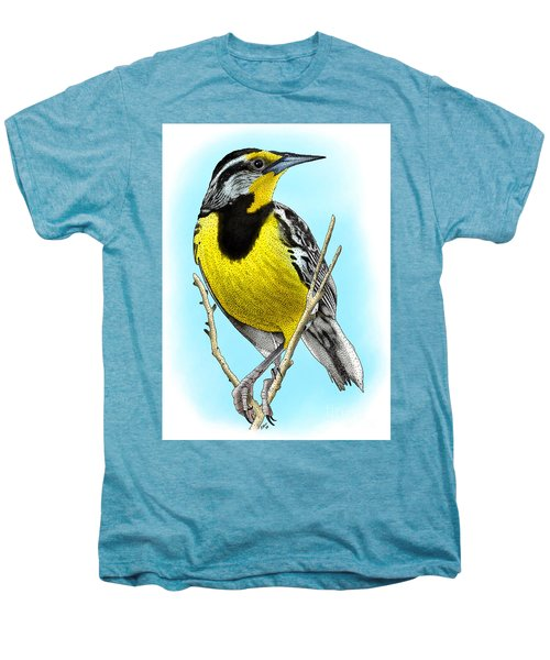 Eastern Meadowlark Men's Premium T-Shirt by Roger Hall