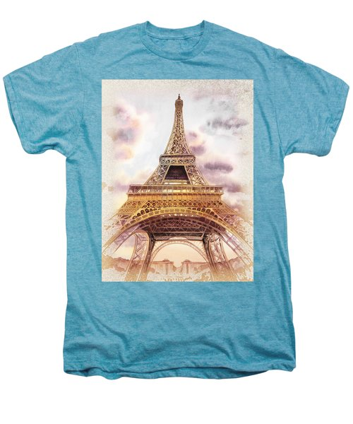 Men's Premium T-Shirt featuring the painting Eiffel Tower Vintage Art by Irina Sztukowski