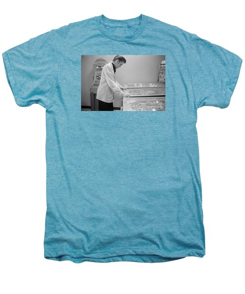 Elvis Presley Playing Pinball 1956 Men's Premium T-Shirt by The Harrington Collection