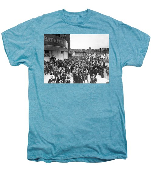 Fans Leaving Yankee Stadium. Men's Premium T-Shirt by Underwood Archives