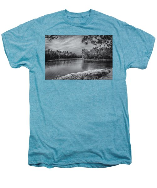 Men's Premium T-Shirt featuring the photograph Fork In River Bw by Mark Myhaver