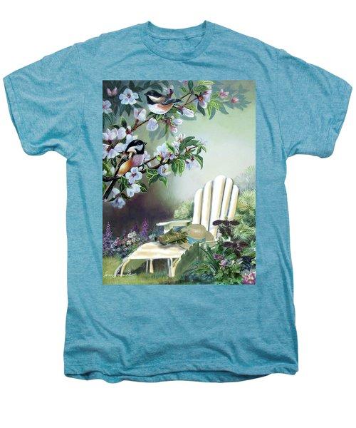 Chickadees In Blossom Tree Men's Premium T-Shirt by Regina Femrite