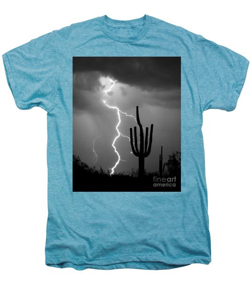 Giant Saguaro Cactus Lightning Strike Bw Men's Premium T-Shirt