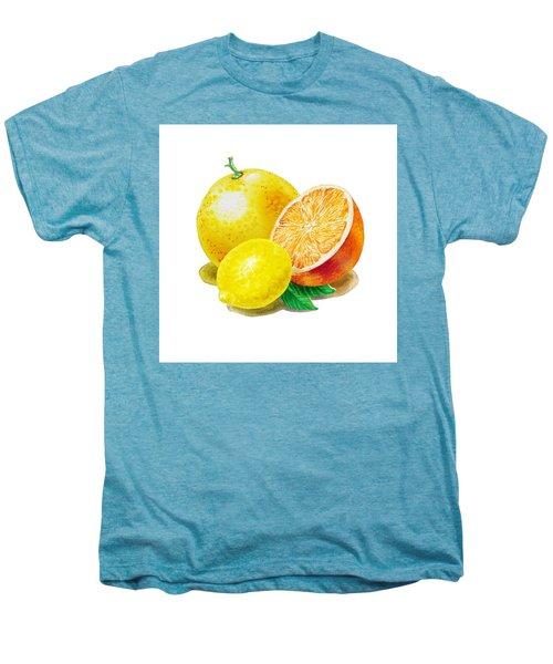 Men's Premium T-Shirt featuring the painting Grapefruit Lemon Orange by Irina Sztukowski