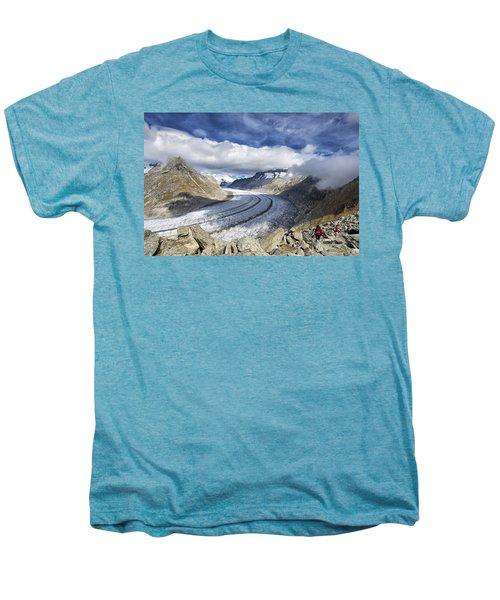 Great Aletsch Glacier Swiss Alps Switzerland Europe Men's Premium T-Shirt by Matthias Hauser