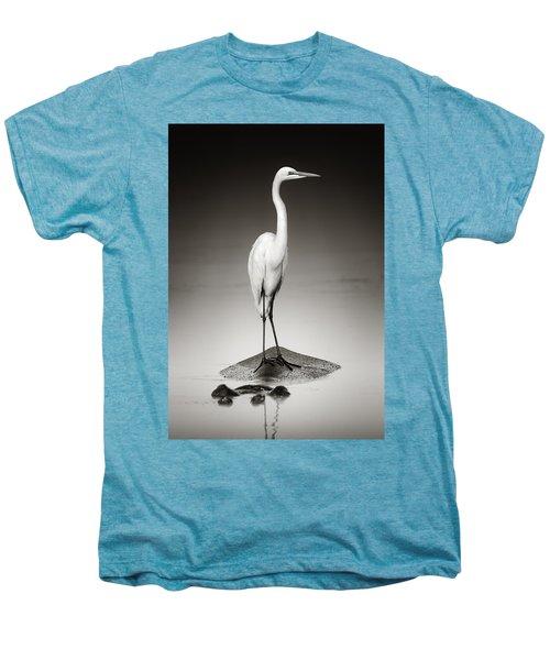 Great White Egret On Hippo Men's Premium T-Shirt