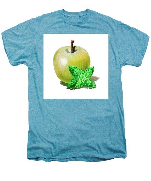 Men's Premium T-Shirt featuring the painting Green Apple And Mint by Irina Sztukowski