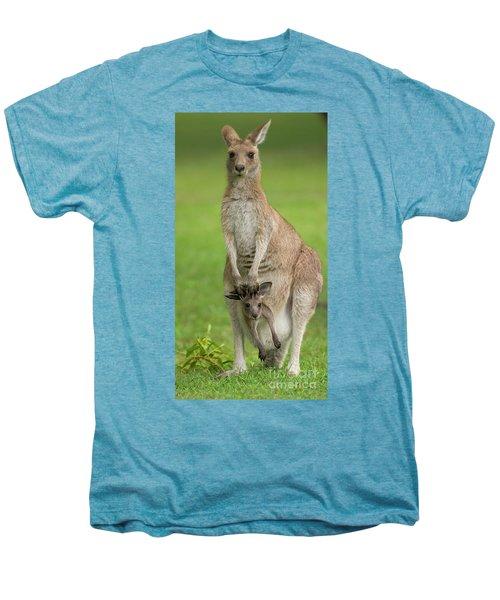 Grey Kangaroo And Joey  Men's Premium T-Shirt
