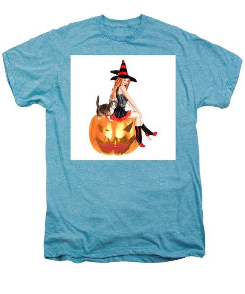 Halloween Witch Nicki With Kitten Men's Premium T-Shirt by Renate Janssen