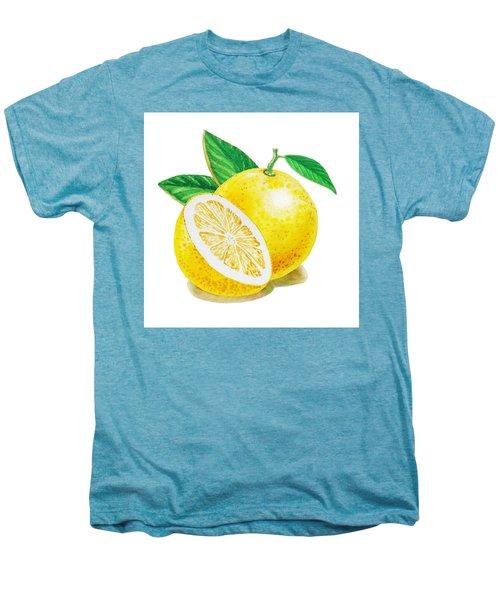 Men's Premium T-Shirt featuring the painting Happy Grapefruit- Irina Sztukowski by Irina Sztukowski