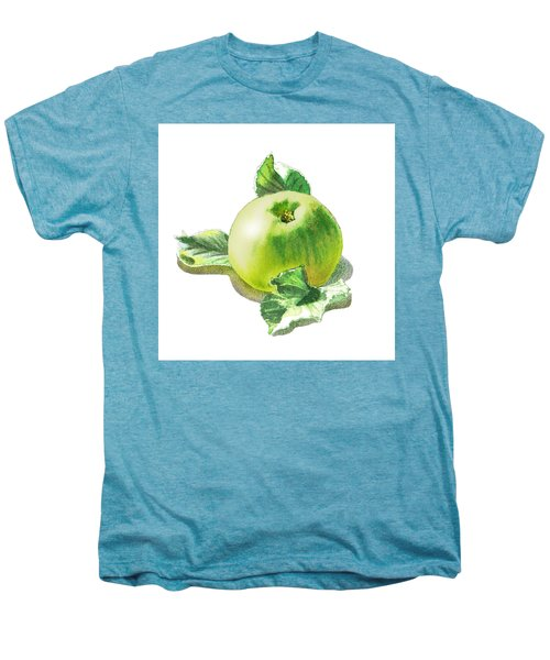 Men's Premium T-Shirt featuring the painting Happy Green Apple by Irina Sztukowski