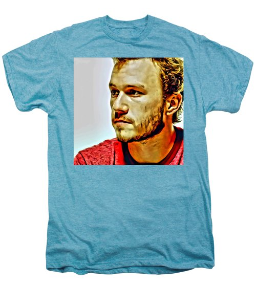 Heath Ledger Portrait Men's Premium T-Shirt by Florian Rodarte