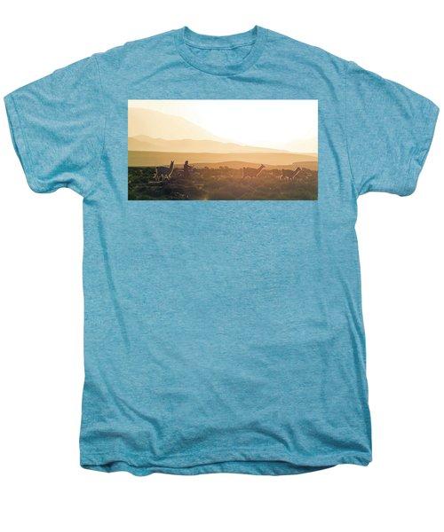 Herd Of Llamas Lama Glama In A Desert Men's Premium T-Shirt by Panoramic Images