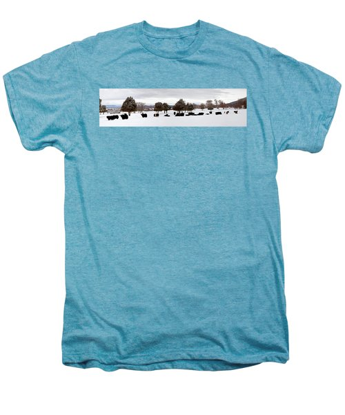 Herd Of Yaks Bos Grunniens On Snow Men's Premium T-Shirt by Panoramic Images
