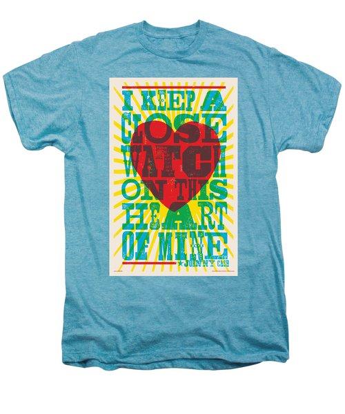 I Walk The Line - Johnny Cash Lyric Poster Men's Premium T-Shirt