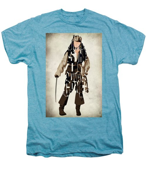 Jack Sparrow Inspired Pirates Of The Caribbean Typographic Poster Men's Premium T-Shirt
