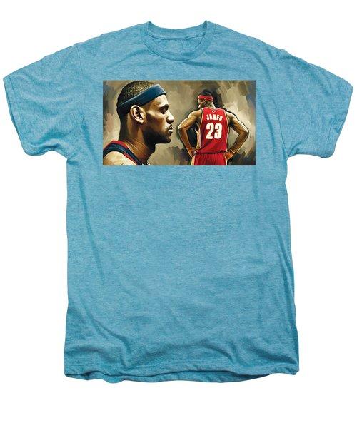 Lebron James Artwork 1 Men's Premium T-Shirt by Sheraz A